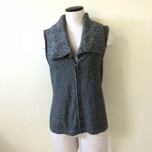 J.Jill black & gray marble zip up sweater vest